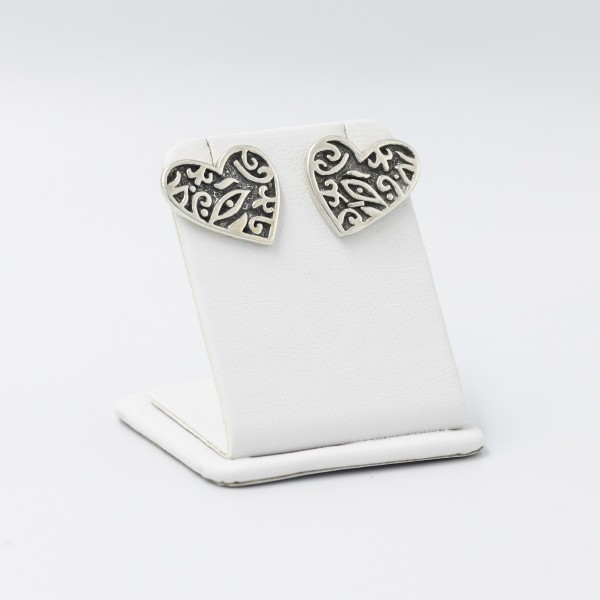 Kolczyki srebrne - duże serca
