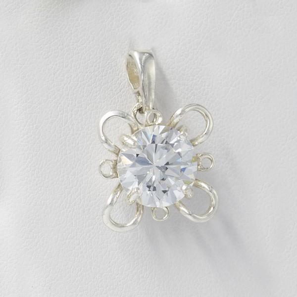 Zawieszka srebrna - błyszczący kwiatek