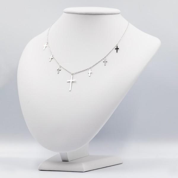 Naszyjnik srebrny celebrytka - krzyże
