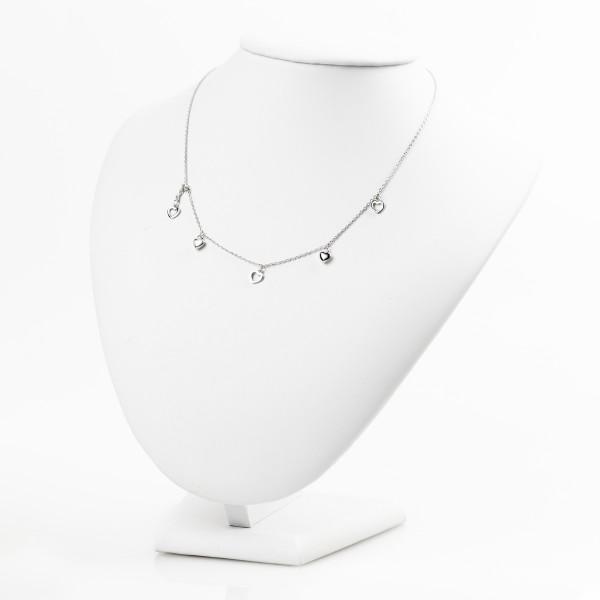 Naszyjnik srebrny celebrytka - serduszka