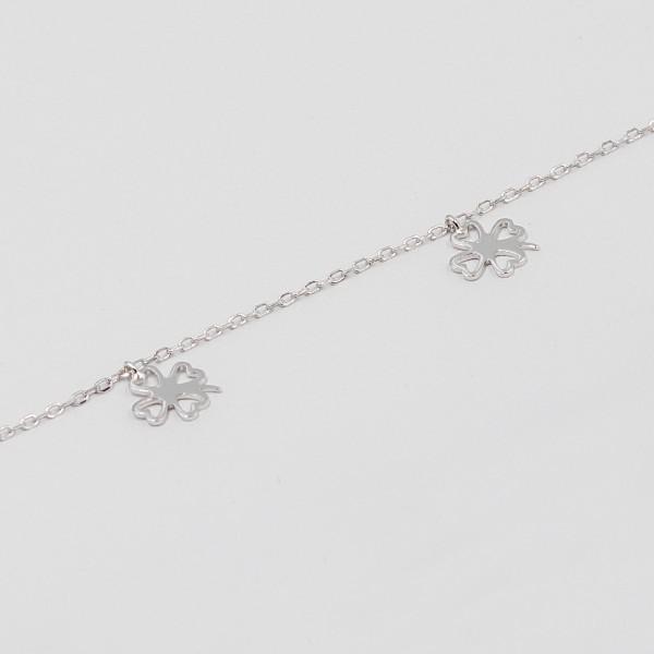 Bransoletka srebrna - koniczynki