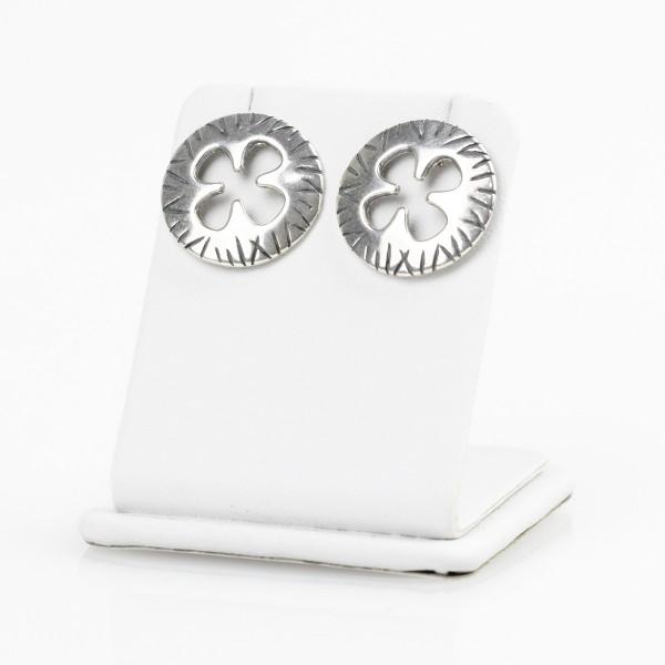 Kolczyki srebrne - koła z kwiatkiem