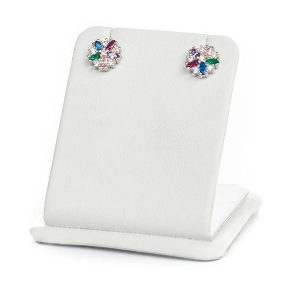 Kolczyki srebrne - kolorowy kwiatek