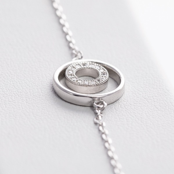 Bransoletka srebrna - podwójne koła