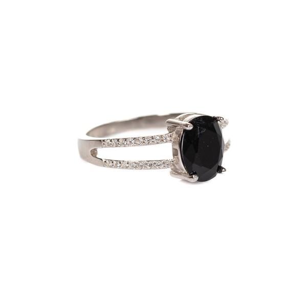 Pierścionek srebrny - czarny kamień,...