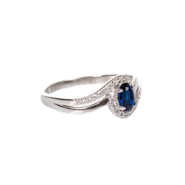 Pierścionek srebrny - niebieskie...