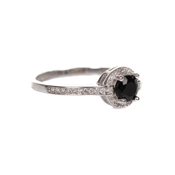 Pierścionek srebrny - czarne oczko,...