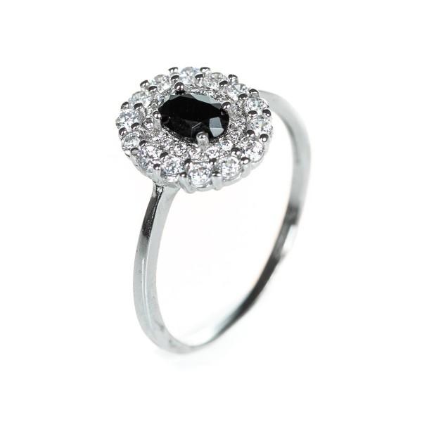 Pierścionek srebrny - czarny, cyrkonie