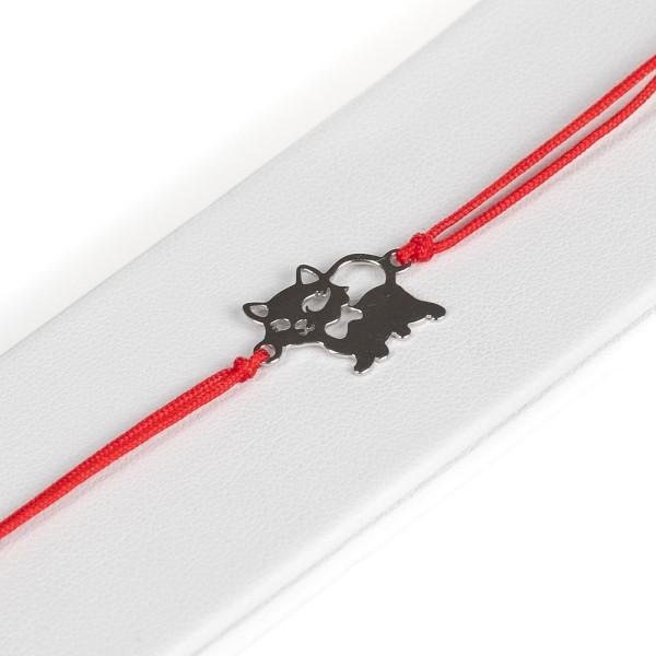Bransoletka czerwony sznurek - kotek