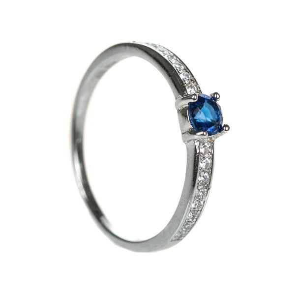 Pierścionek srebrny - niebieskie oczko