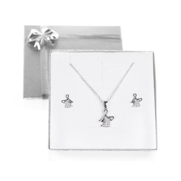 Zestaw srebrnej biżuterii - aniołek z...
