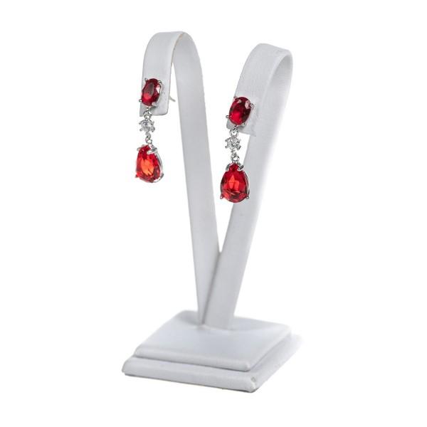 Kolczyki srebrne - wiszące, czerwone...