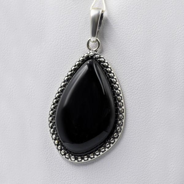 Zawieszka srebrna z czarnym kamieniem