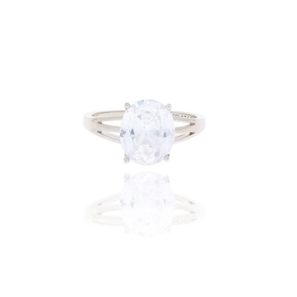 Pierścionek srebrny - duży kryształek