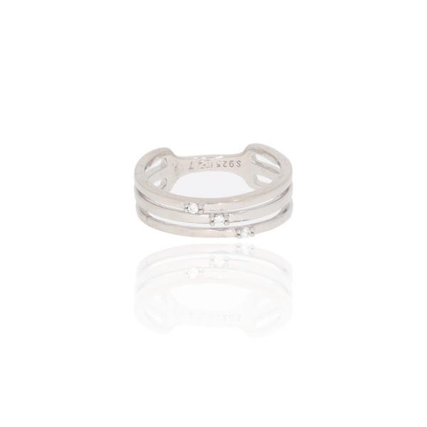 Pierścionek srebrny - trzy paski z...