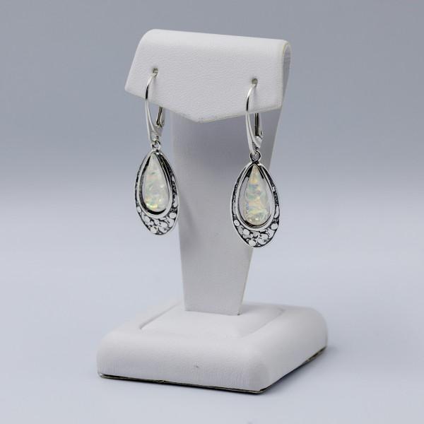 Kolczyki srebrne - łezki z kryształkiem