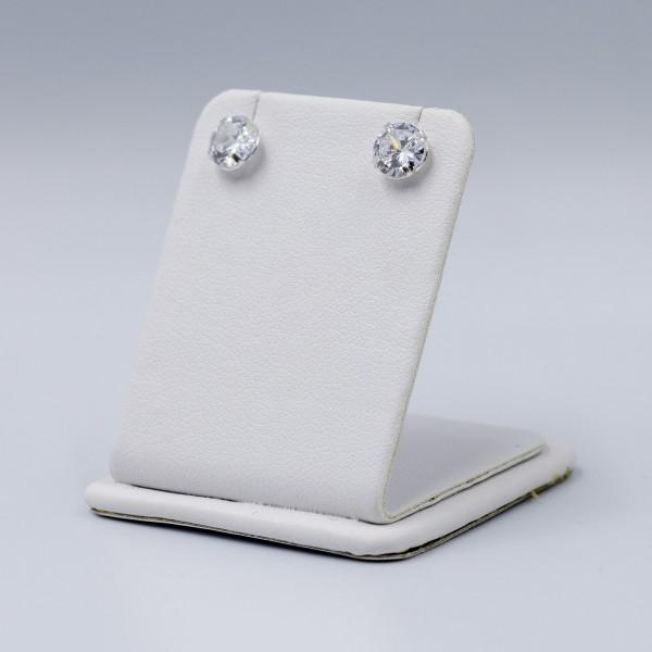 Kolczyki srebrne - okrągłe, kryształki