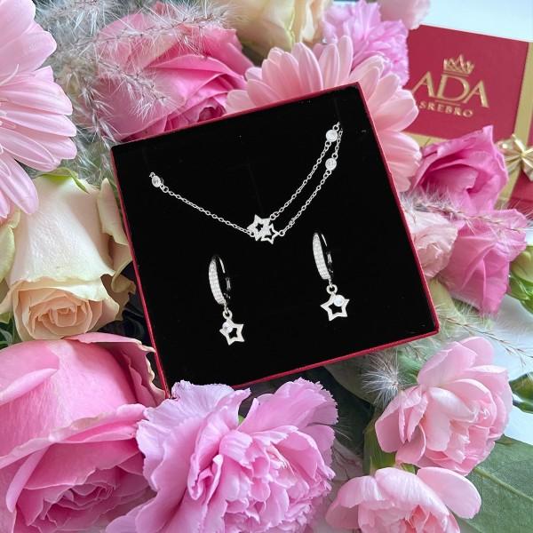 Zestaw srebrnej biżuterii - gwiazdki