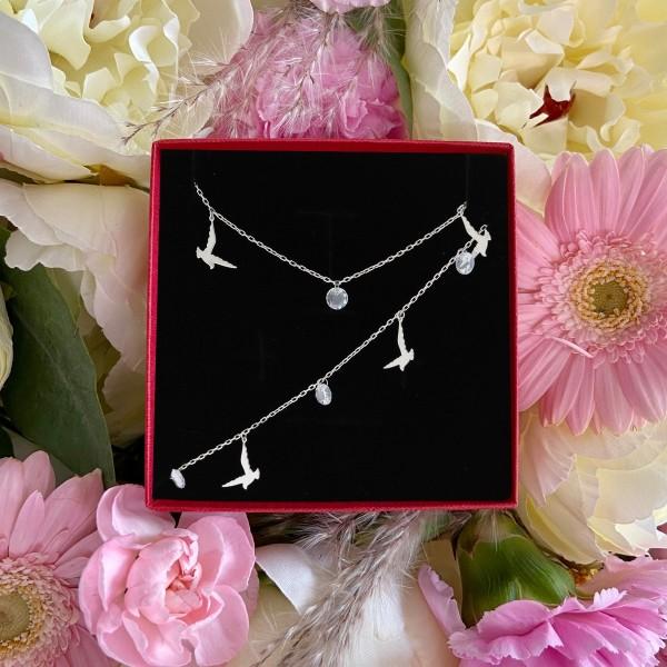 Zestaw srebrnej biżuterii - jaskółki