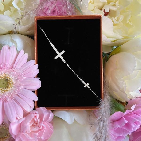 Bransoletka srebrna - dwa krzyżyki